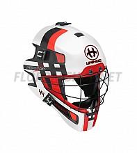 Unihoc brankářská maska FEATHER 44 white/neon red