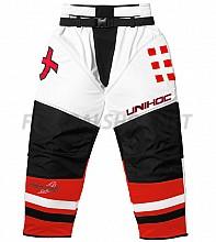 Unihoc brankářské kalhoty Feather SR white/neon red