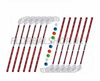 Florbalový set MPS Flash Red (12 hokejek)