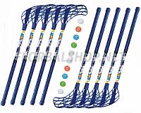 Florbalový set MPS Jungle mini Blue (10 hokejek)