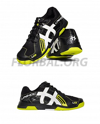 Unihoc florbalová obuv U3 Power Men black/lime