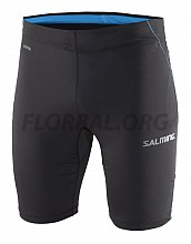 Salming Run Short Tights Men Black/Cyan